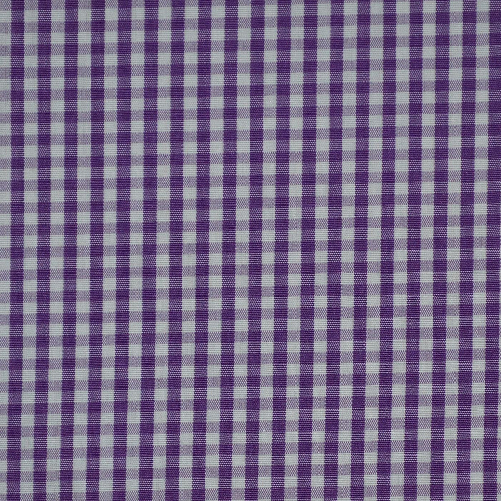 Purple & White Gingham Check Cotton Shirting