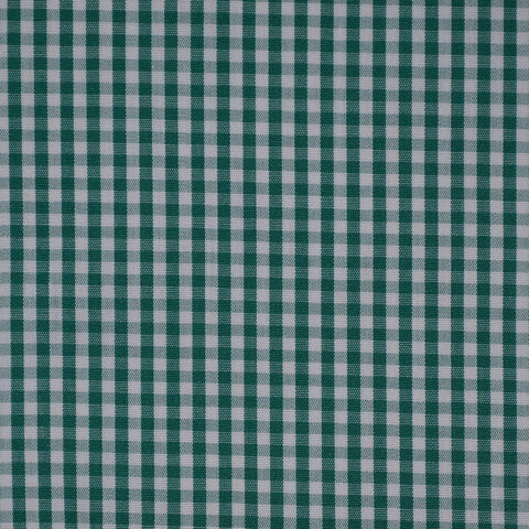 Green & White Gingham Check Cotton Shirting