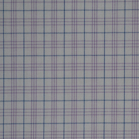 White with Lilac & Blue Check Cotton Shirting