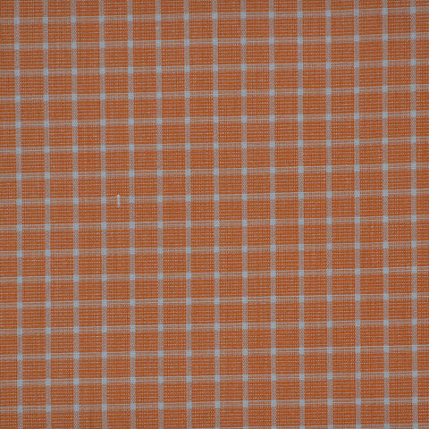 Orange with White Check Cotton Shirting