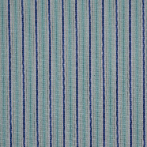 White with Blue & Sea Green Stripe Cotton Shirting