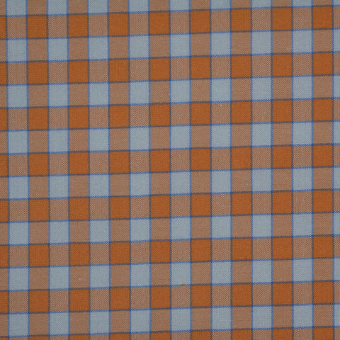 White with Orange & Blue Check Cotton Shirting
