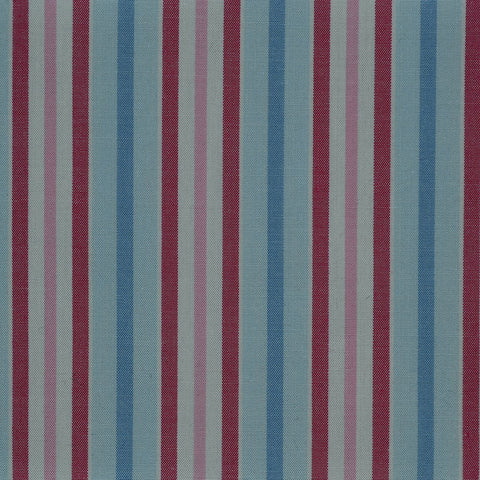 Blue with Pink & Red Stripe Cotton Shirting