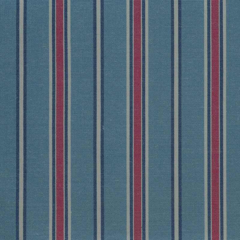 Blue with Red & White Stripe Cotton Shirting
