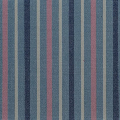 Blue with White & Pink Stripe Cotton Shirting