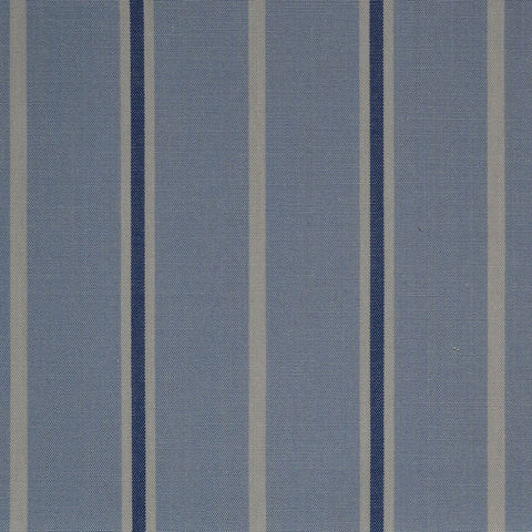 Blue with Dark Blue & White Stripe Cotton Shirting