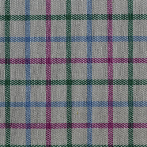 White with Pink & Green Check Cotton Shirting