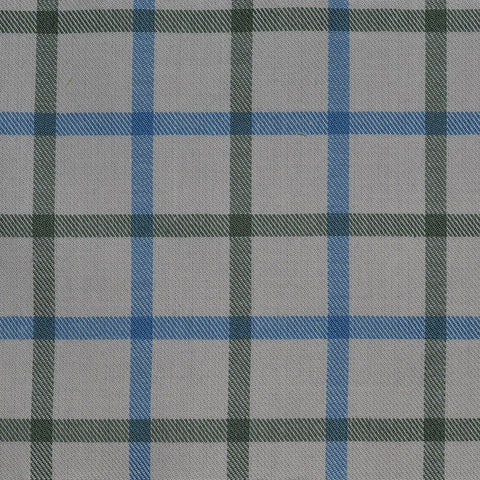 White with Blue & Green Check Cotton Shirting