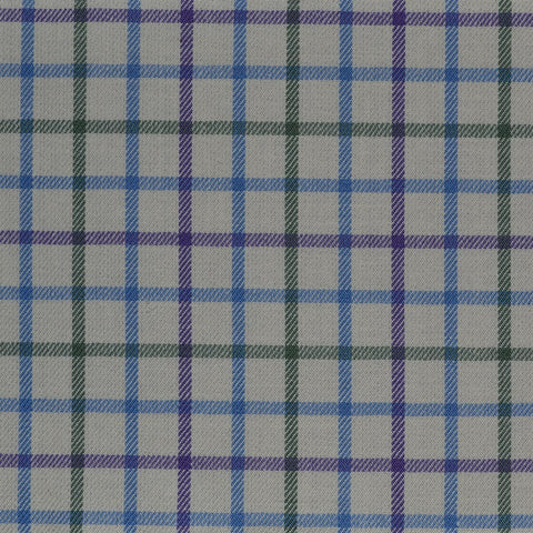 White with Blue, Green & Purple Check Cotton Shirting