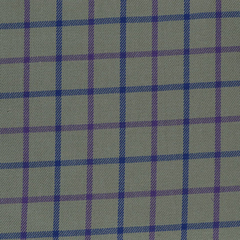 Olive with Blue & Purple Check Cotton Shirting