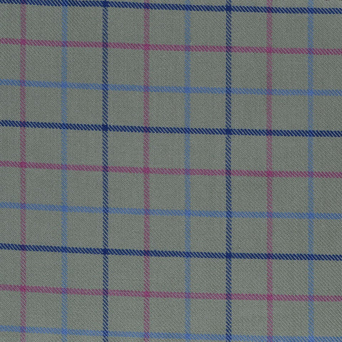 Olive with Blue & Pink Check Cotton Shirting