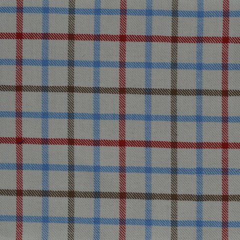 White with Blue & Brown Check Cotton Shirting