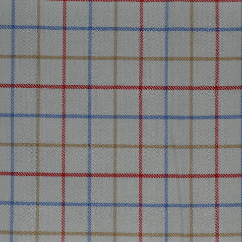 White with Red, Blue & Tan Check Cotton Shirting