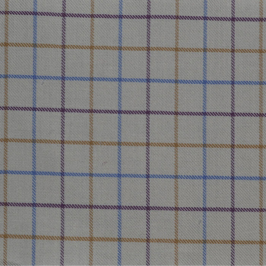 White with Blue, Tan & Purple Check Cotton Shirting