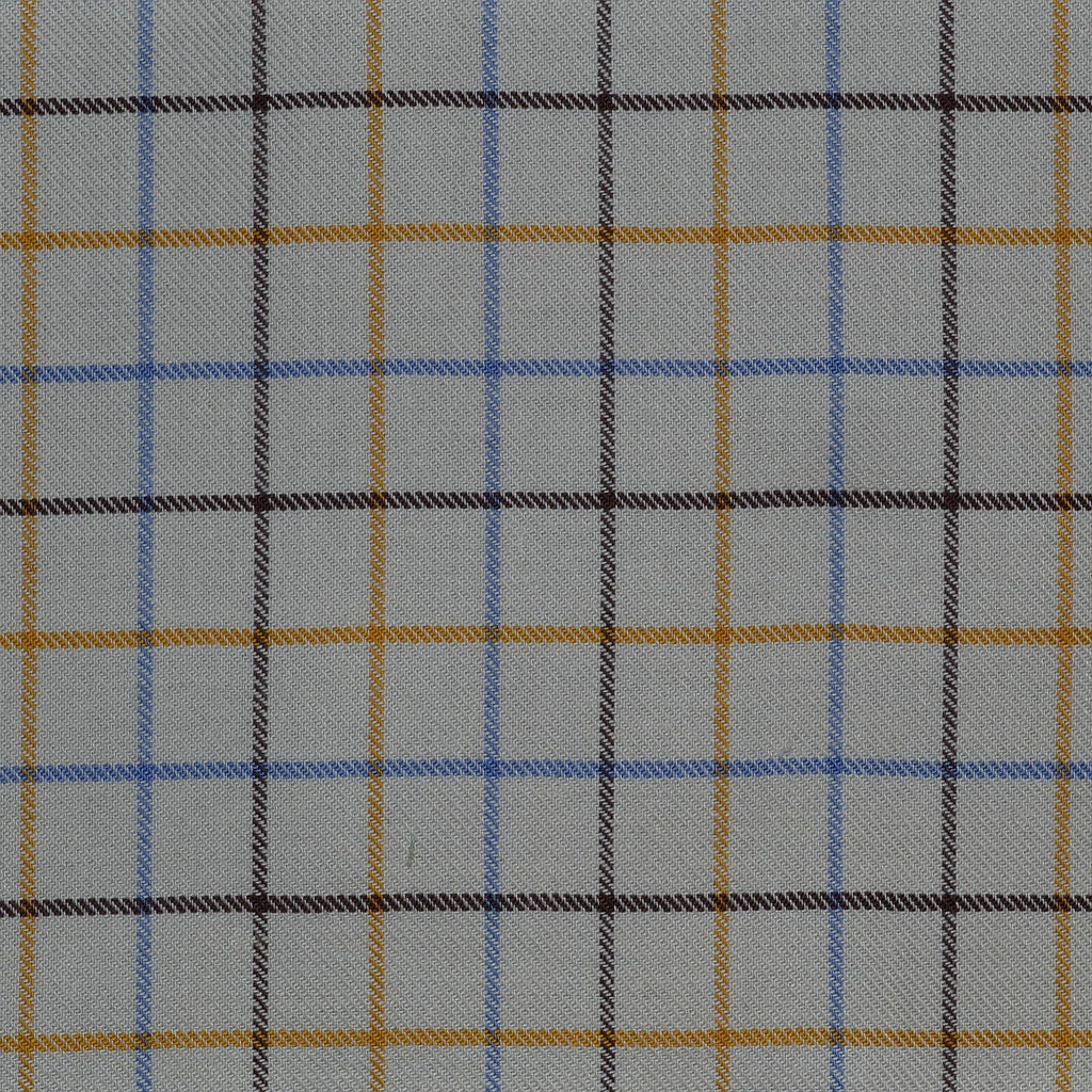 White with Blue, Yellow & Brown Check Cotton Shirting