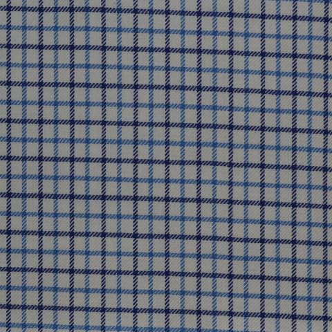White with Blue Check Cotton Shirting