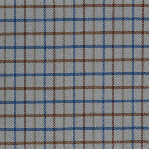 White with Blue & Tan Check Cotton Shirting