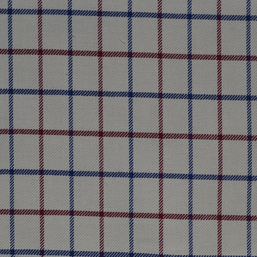 White with Red & Blue Check Cotton Shirting