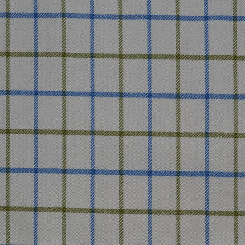 White with Blue & Olive Green Check Cotton Shirting