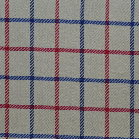 White with Blue & Red Check Cotton Shirting