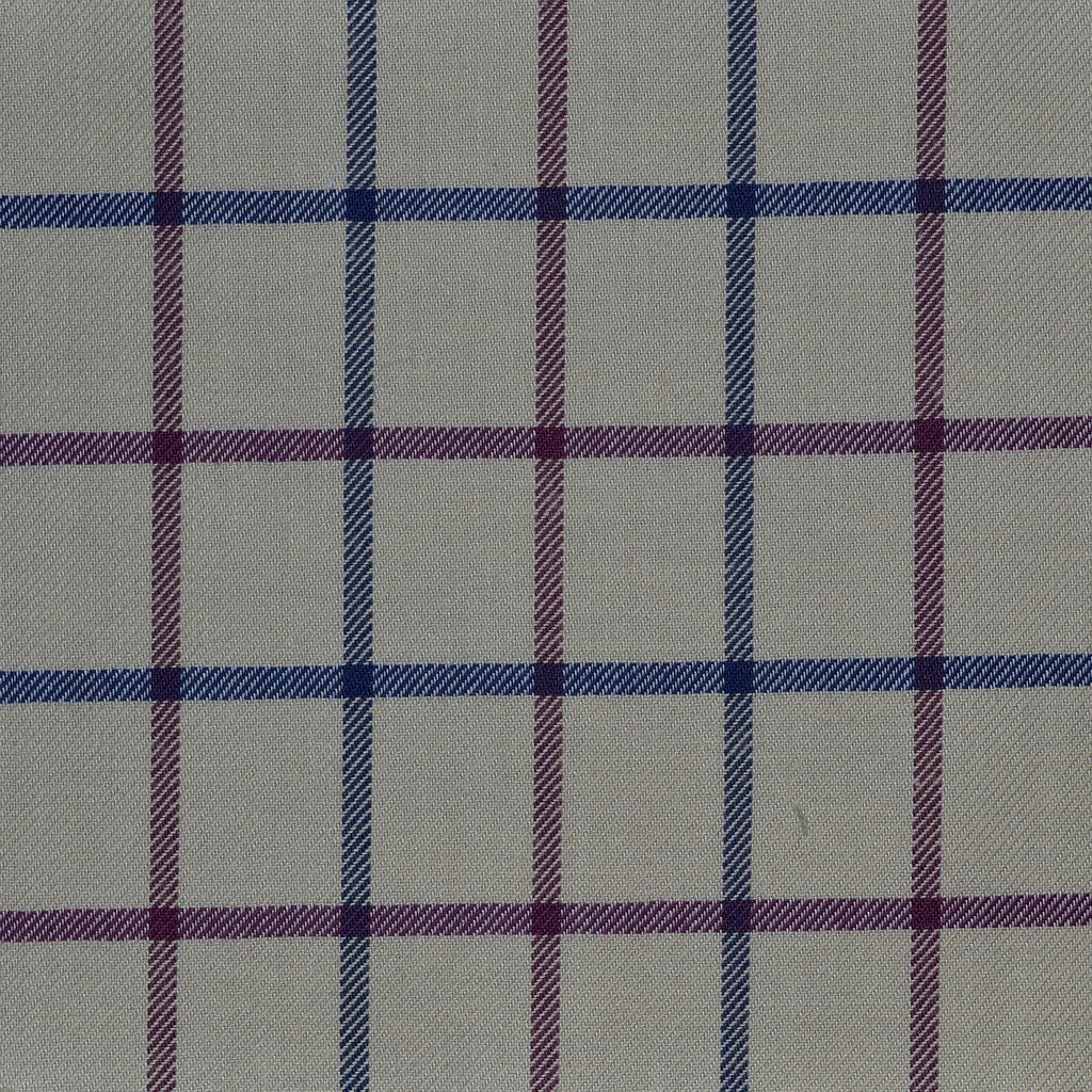 White with Blue & Wine Red Check Cotton Shirting