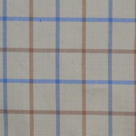 White with Tan & Sky Blue Check Cotton Shirting