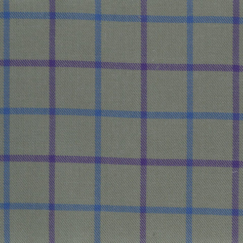 Olive with Blue & Lilac Check Cotton Shirting
