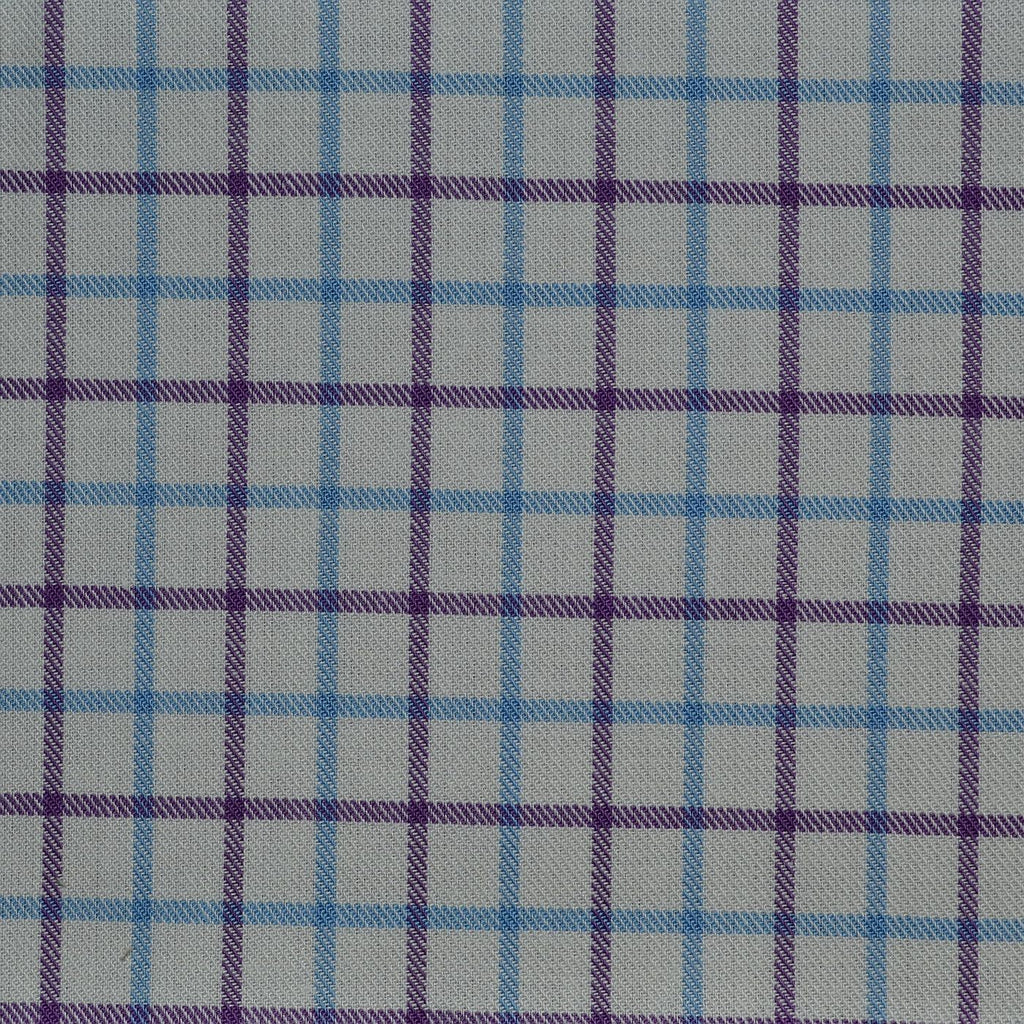 White with Purple & Blue Check Cotton Shirting