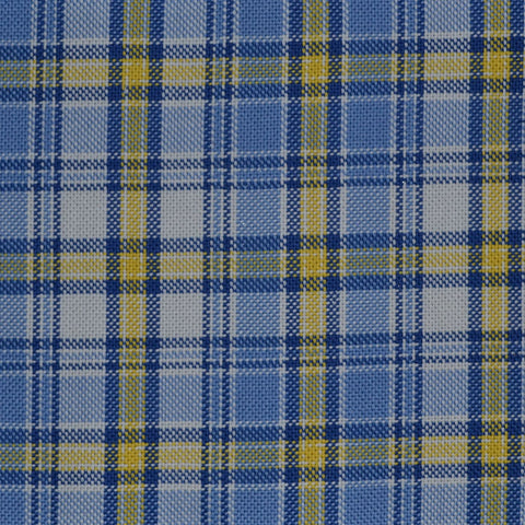 Blue with Yellow Check Cotton Shirting