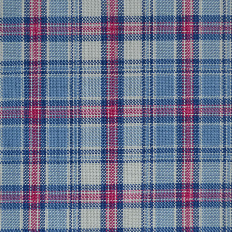Blue with Red Check Cotton Shirting