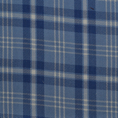 Blue with White Check Cotton Shirting