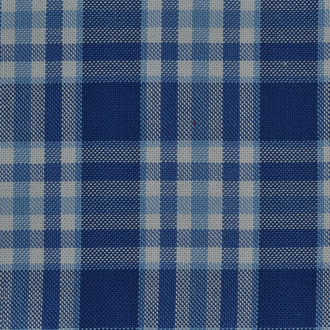 Dark Blue with Light Blue Check Cotton Shirting