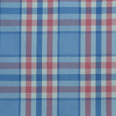 Sky Blue with Pink Check Cotton Shirting
