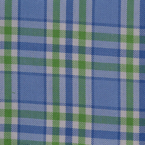Blue with Green Check Cotton Shirting