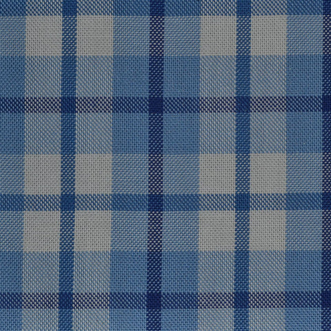 Blue with White & Dark Blue Check Cotton Shirting