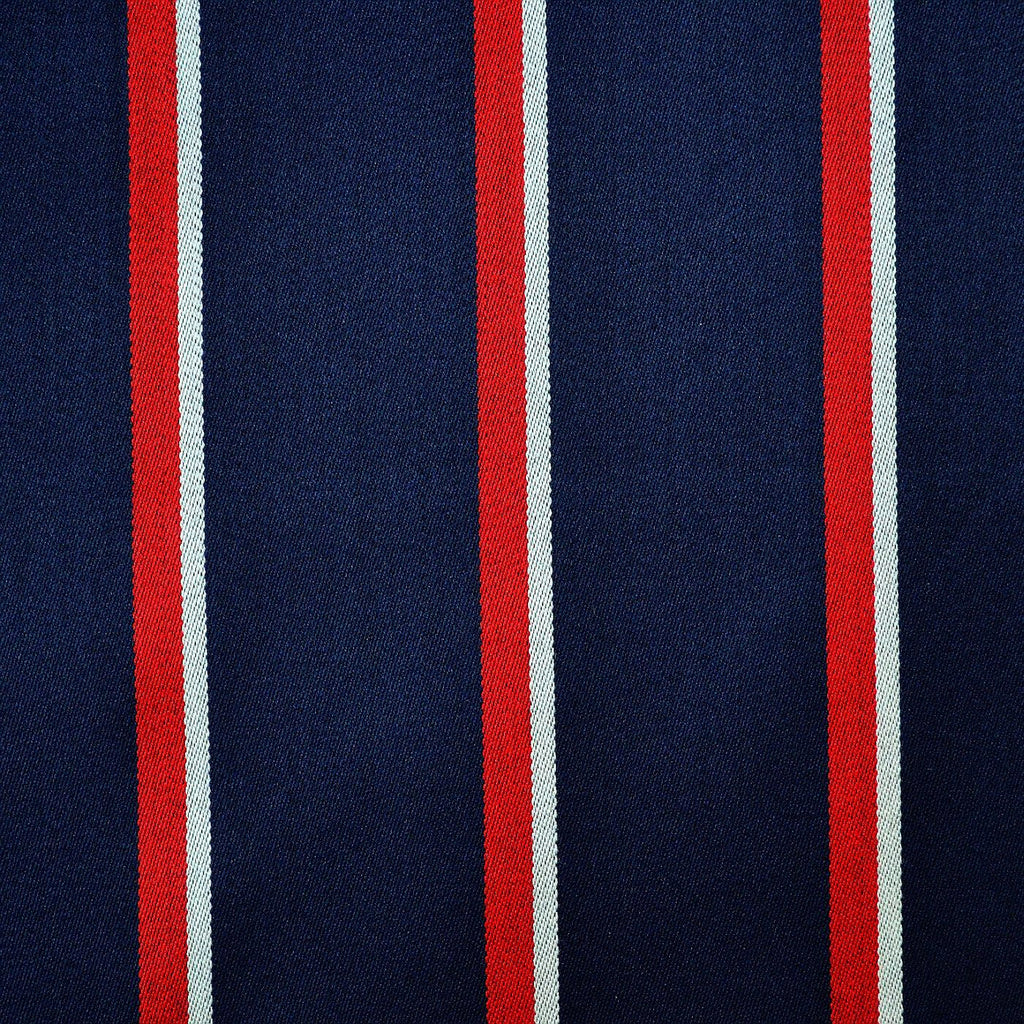 Navy Blue, Red & White Blazer Stripe Jacketing