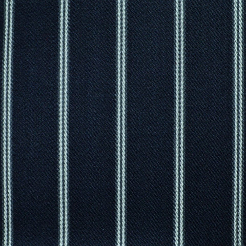 Navy Blue with White Twin Blazer Stripe Jacketing