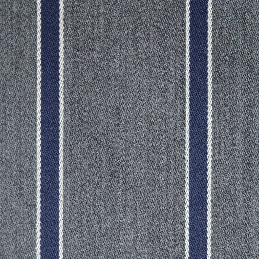 Medium Grey with Blue and White Blazer Stripe Jacketing