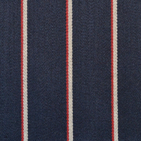Navy Blue with Narrow Red & White Blazer Stripe Jacketing