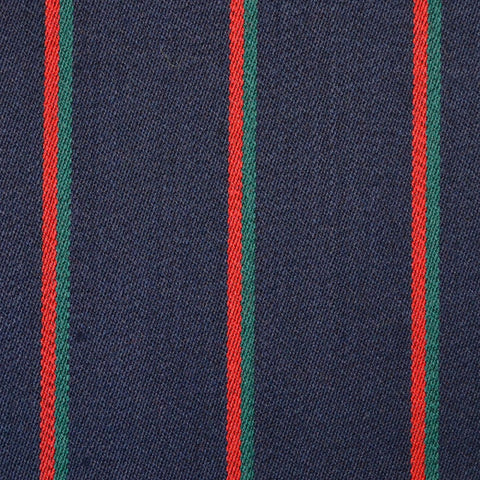 Navy Blue with Narrow Green & Red Blazer Stripe Jacketing