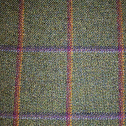 Dark Green with Orange, Red, Blue & Purple Check Tweed