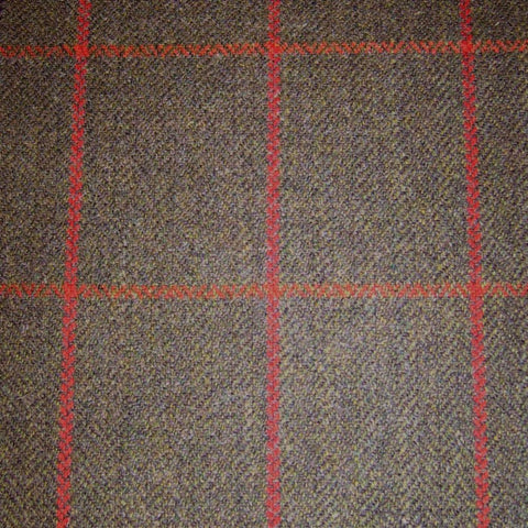 Brown Herringbone with Red Check Tweed