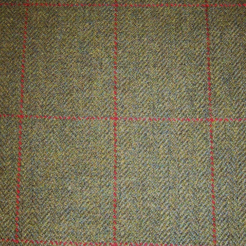 Green Herringbone with Red Check Tweed
