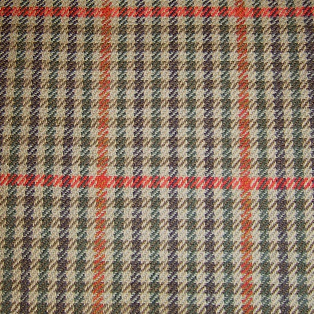 Beige with Brown, Green & Red Check Tweed