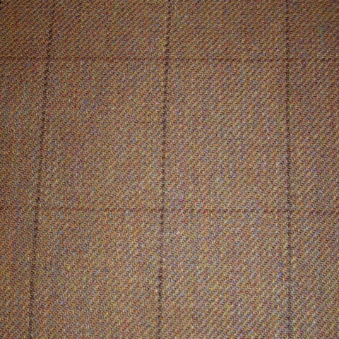 Light Brown with Dark Brown Check Tweed