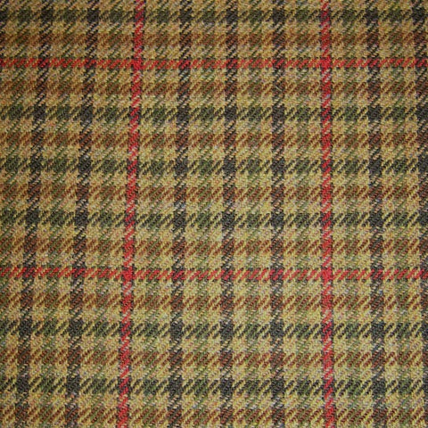 Light Brown with Red, Green and Dark Brown Check Tweed