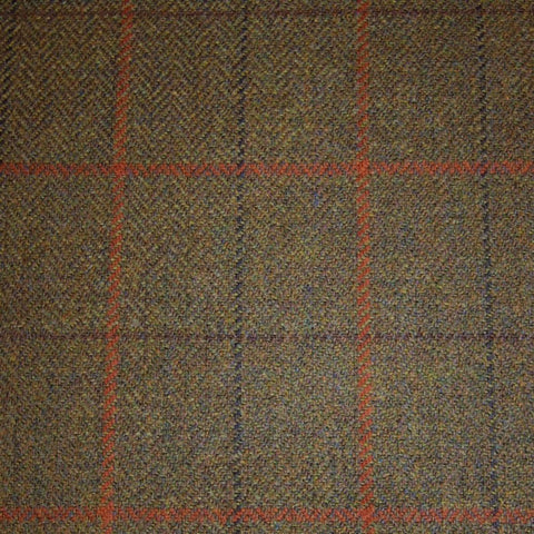Green & Brown Herringbone with Red, Orange, Blue & Brown Check Tweed