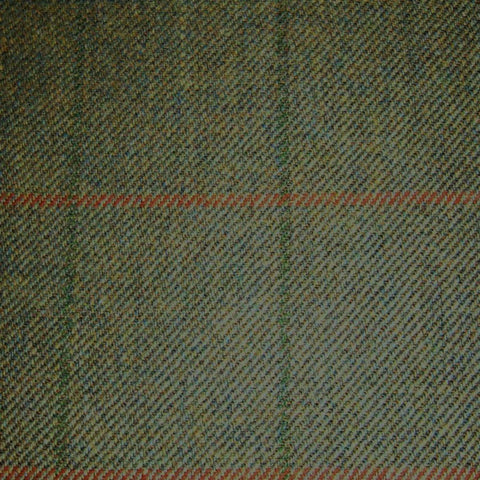 Moss Green with Orange and Dark Green Check Tweed