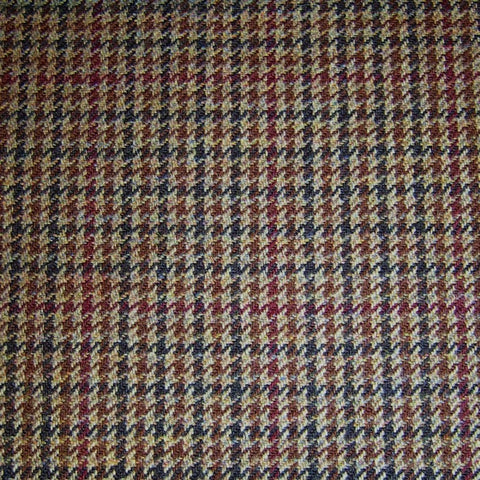 Beige, Brown, Red & Blue Dogtooth Tweed
