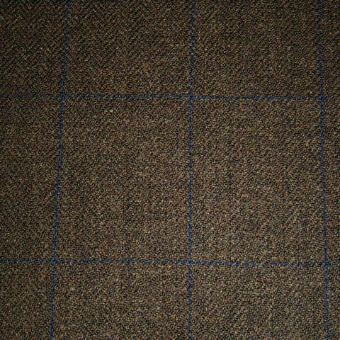Medium Brown Herringbone with Navy Blue Check Tweed